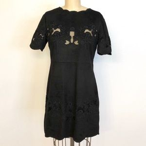 Zara Black Suede Dress with Embroidered Details.